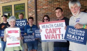 Iowa Citizen Action Network, ICAN, supporters for Health Care for America Now